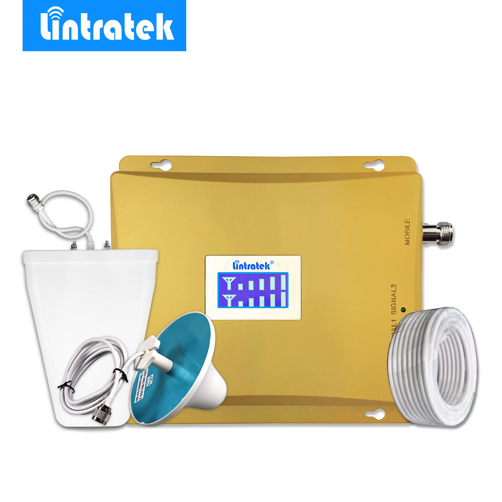 Lintratek 3G Repeater 2100MHz 900MHz Mobile Signal Booster GSM 900 3G UMTS 2100 Cell Phone Signal Amplifier Omni Antenna Set #35