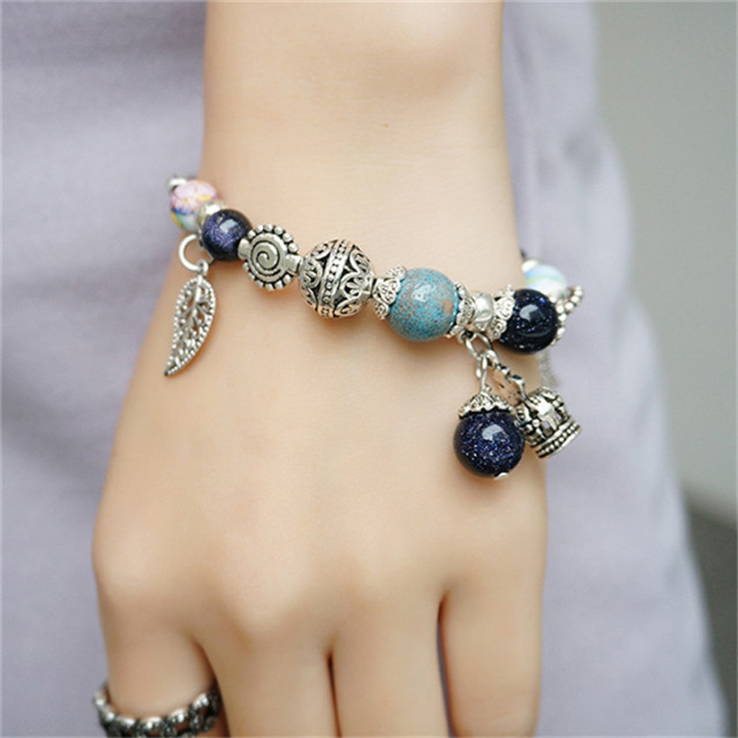 Brand News Luxury Handmade Bracelets Murano Bracelet Glass Ceramic Bead with crown Fashion Brand Bangle Jewelry Girls Women