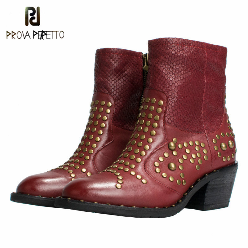 Prova perfetto Ankle Boots Women Genuine Leather Autumn Winter Botas Platform Short Booties Female Rivets Studded Martin Boot стоимость