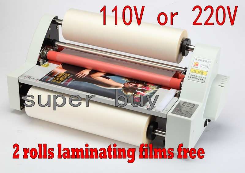 Hot roll laminator machine with 4 rubber rollers 350mm , sending 2pcs laminating film rolls as giftHot roll laminator machine with 4 rubber rollers 350mm , sending 2pcs laminating film rolls as gift