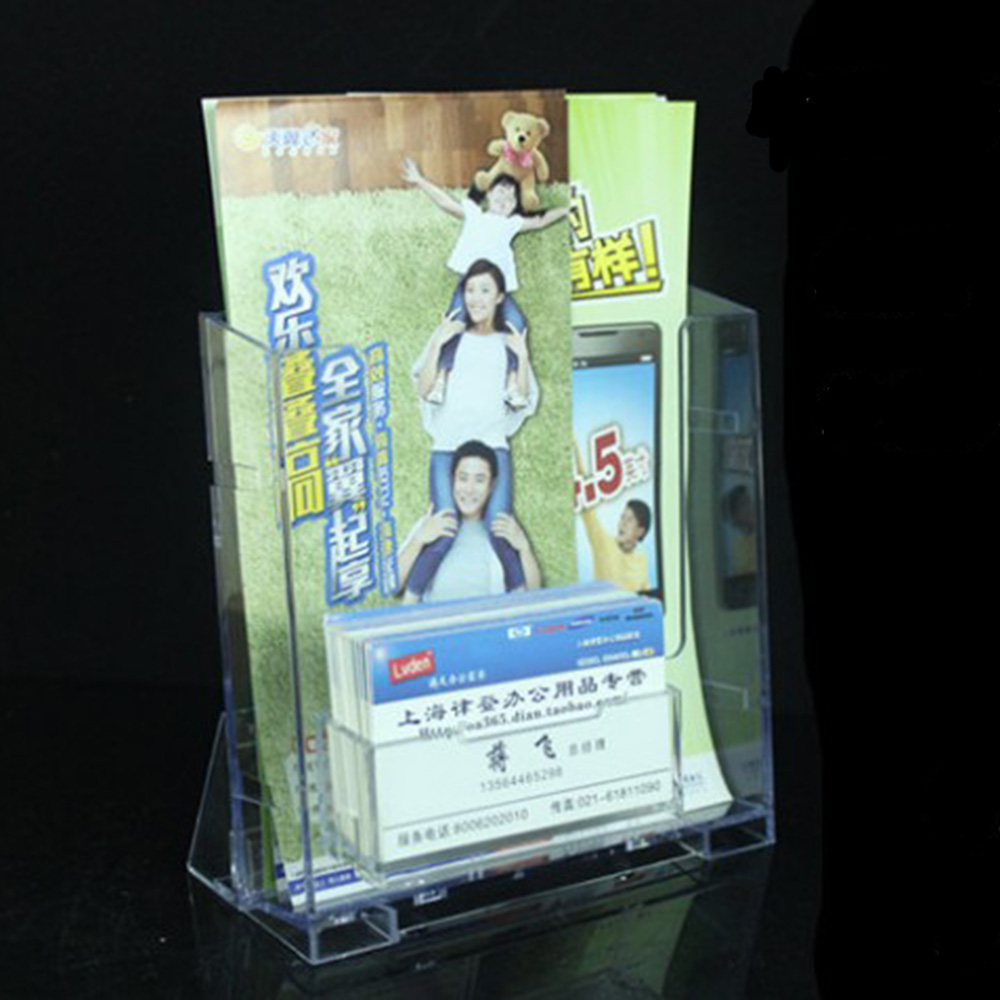 1pcs Transparent A5  Display Stand Rack For Brochure Magazine Single Grid With Card Holder Office Supplies