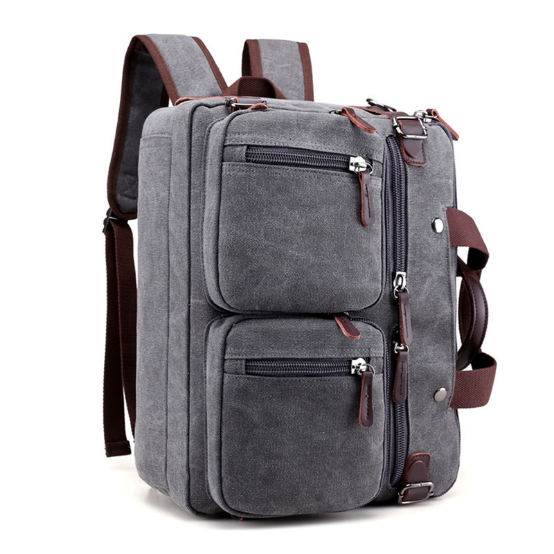 все цены на 13 14 Inch Multifunctional Canvas Convertible Laptop Bag Multi-Pocket Briefcase Backpack Laptop Messenger Bags