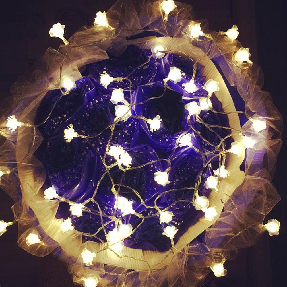 4M 20Leds Rose LED String Flower Lighting Changeable nightlight AC Plug / Battery Box Party ...