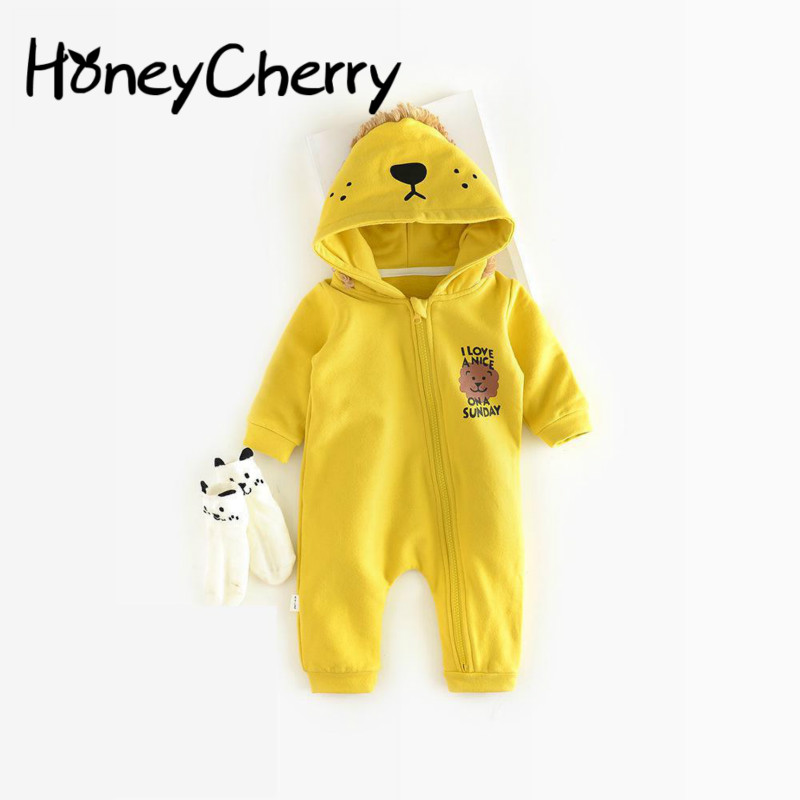 2017 Autumn Baby Dress Child Hooded Jumpsuit And Lion Zip Romper Clothes For Newborns Baby Girl