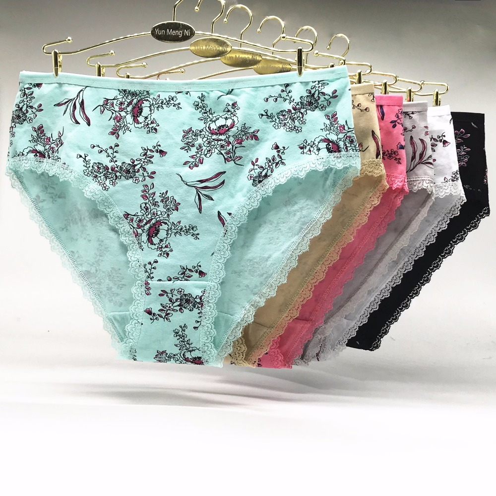 Underwear women plus size   panties   sexy lace small floral briefs cotton comfortable cute ladies girls intimate 6pieces/ XXXXL