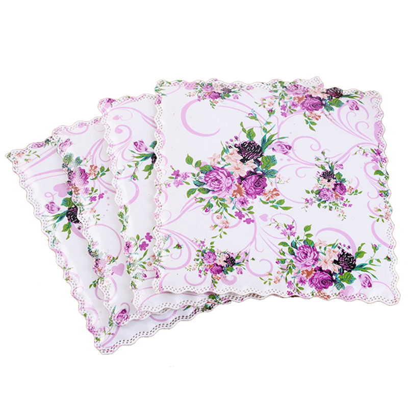 2PCS/Lot Colorful Purple Flower Decorated PVC Non-woven Fabric Cup Mat Kitchen Accessory Dining Table Heat Resistant Placemat