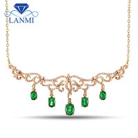Solid 18K Yellow Gold Natural Emerald Diamond Pendant Necklace For Women Wedding Party