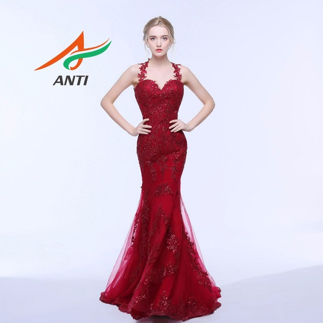 Anti Dark Red Luxury Formal Mermaid Dresses Evening Gown Elegant Women Dress For Wedding Party Liques