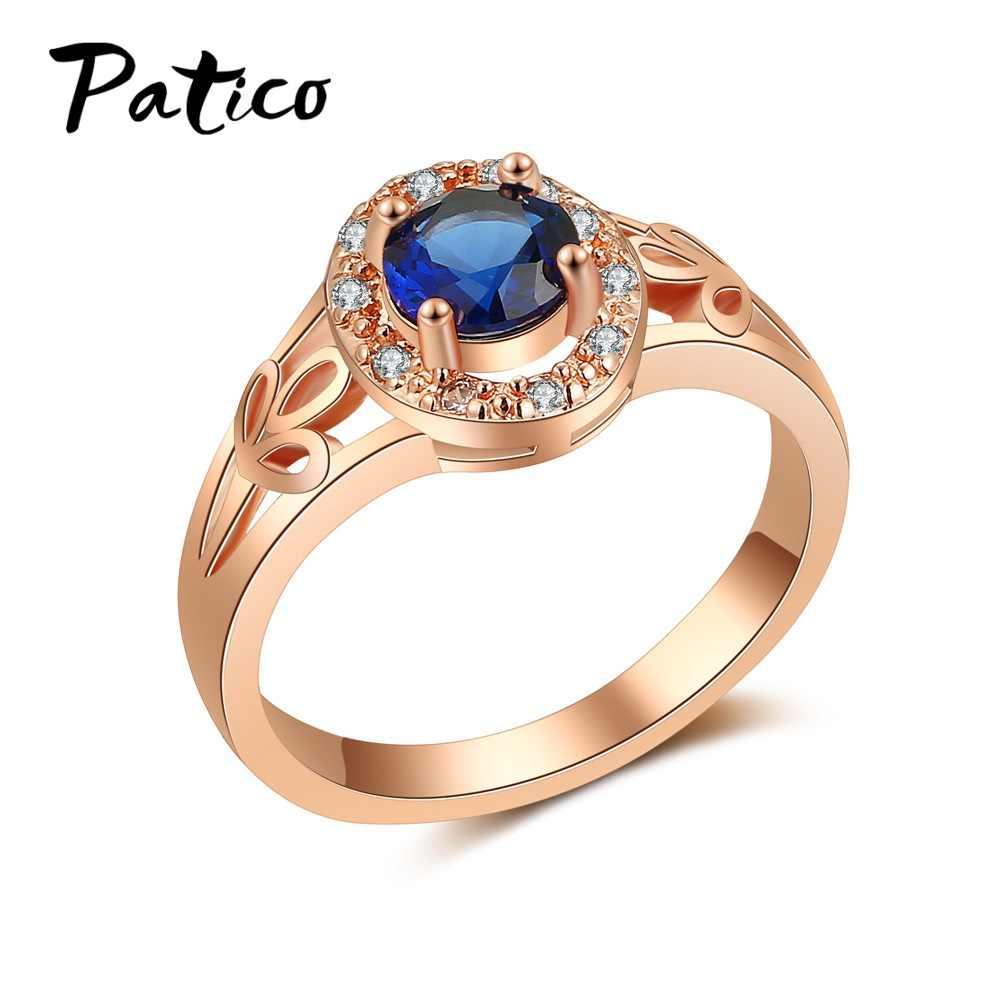 Neuheiten Frauen Rose Gold Hochzeit Schmuck Dark Blue Rose Rot Oval Natürliche Zirkonia Einfache Exquisite Ringe