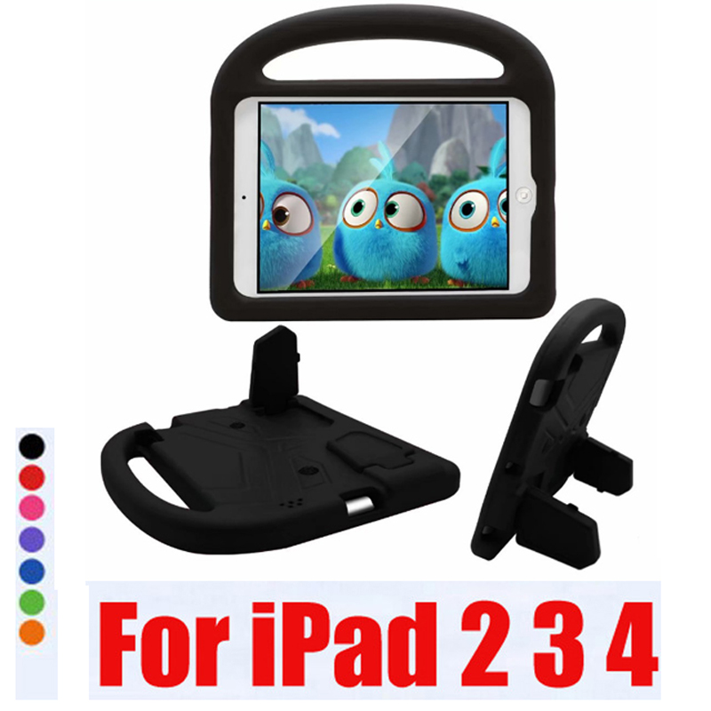 For iPad 2 3 4 Case 3D New Kids Children Shockproof EVA Foam Handle Stand Case Cover for iPad 2 Case iPad 3 Cover iPad 4 Cases image