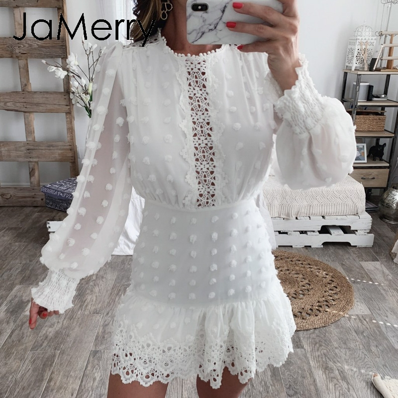 JaMerry Vintage sexy white lace short dress women Long puff sleeve dresses dots female Luxury slim party mini dress vestidos 1