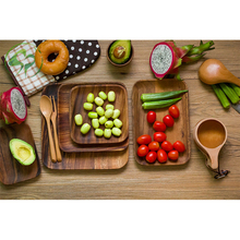 Dinner plate Wooden Fruit Dessert Food Tray Plate Dishes tableware kitchen home supply Square Rectangle