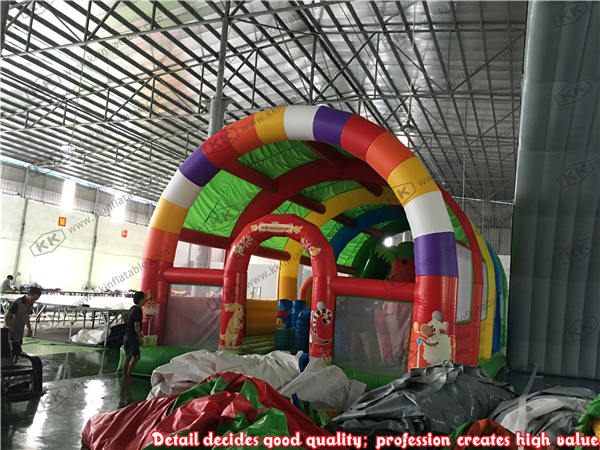 Children font b Entertainment b font Giant inflatable fun city with roof inflatable factory
