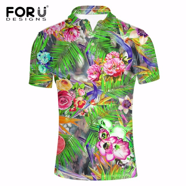 FORUDESIGNS 2018 Summer Hawaiian Men s Polo Shirt Tropical Forest  Breathable Short Sleeve Man Polo Shorts Polos for Men Clothes fe2923ed7