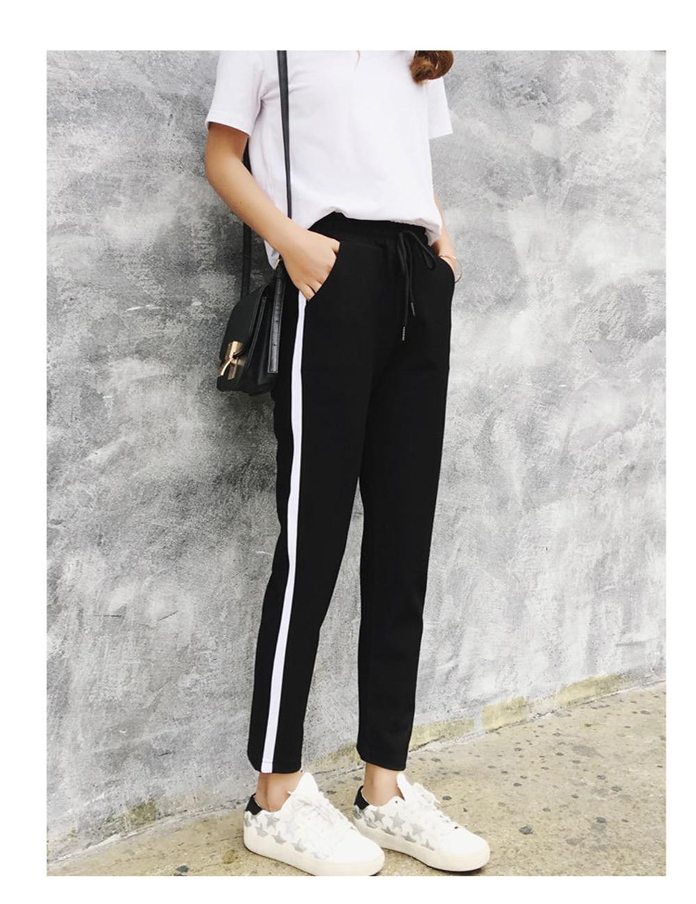 2018 Spring Sweatpants Trousers For Women Casual Harem Pants Harajuku Women's Pants Streetwear Loose Black Striped Pants Female