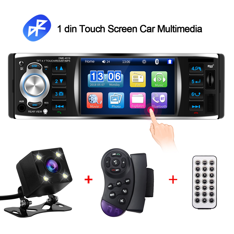 1 Din Car Radio Touch Screen Car Multimedia Player RDS Mp5 Bluetooth autoradio stereo Mirror link with rear camera wheel control-in Car Multimedia Player from Automobiles & Motorcycles