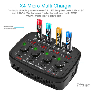 Image 4 - HTRC X4 Micro แบตเตอรี่ Charger AC DC 4x1s Quattro 100 240V 24W 1.5A Lipo /Lihv LED Multi เสียงแสดง Charger