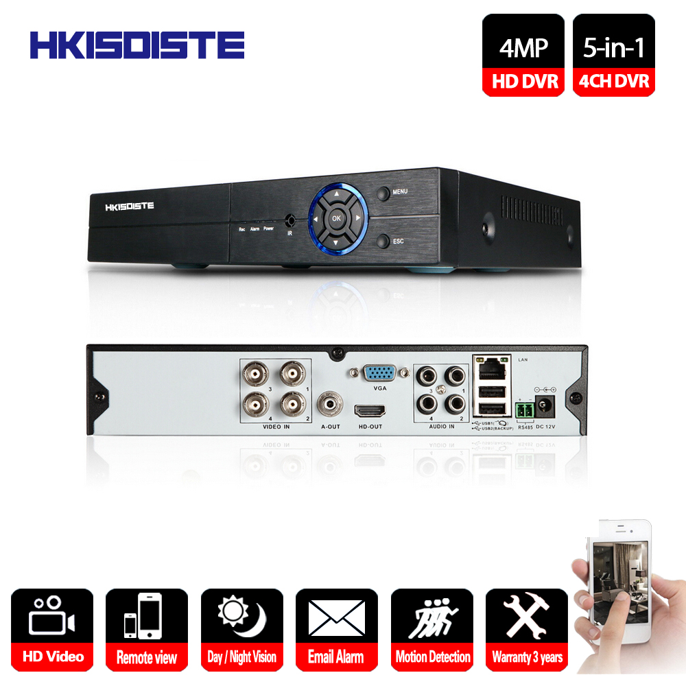 HKIXDISTE 4CH CCTV DVR Recorder AHD 4MP P2P DVR System H.264 Video Surveillance For Analog AHD TVI CVI IP Camera VGA HDMI Output 16ch 5in1 ahd dvr support cvbs tvi ahd analog ip cameras hd p2p h 264 vga hdmi 2 hard disk bit video recorder rs485 audio