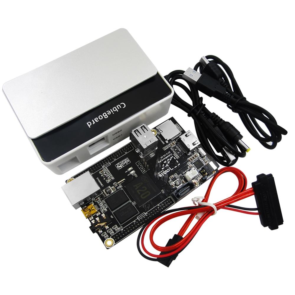 Carte de développement double coeur PC Cubieboard A20 avec câble d'alimentation SATA fil USB à TTL ligne avec étui