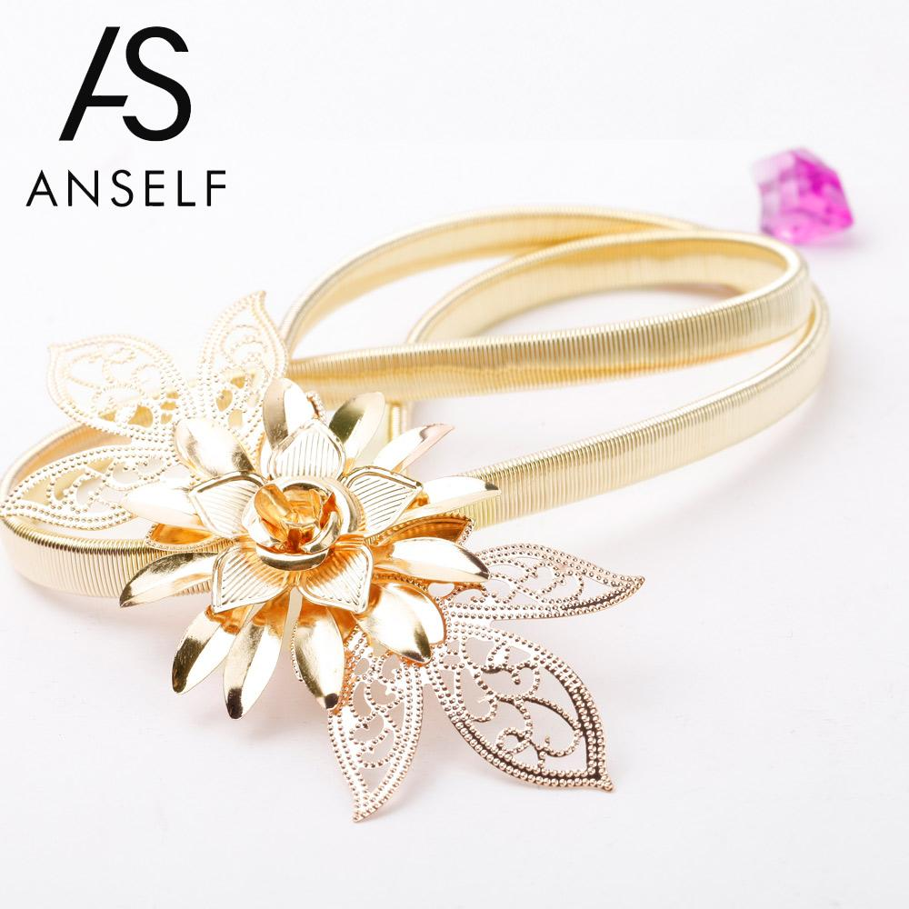 Anself   Belts   for Women Lady Gold Metal Chain   Belt   Flower Embellishment Elastic Waist Strap   Belt   Cummerbund Gold Cintura Donna