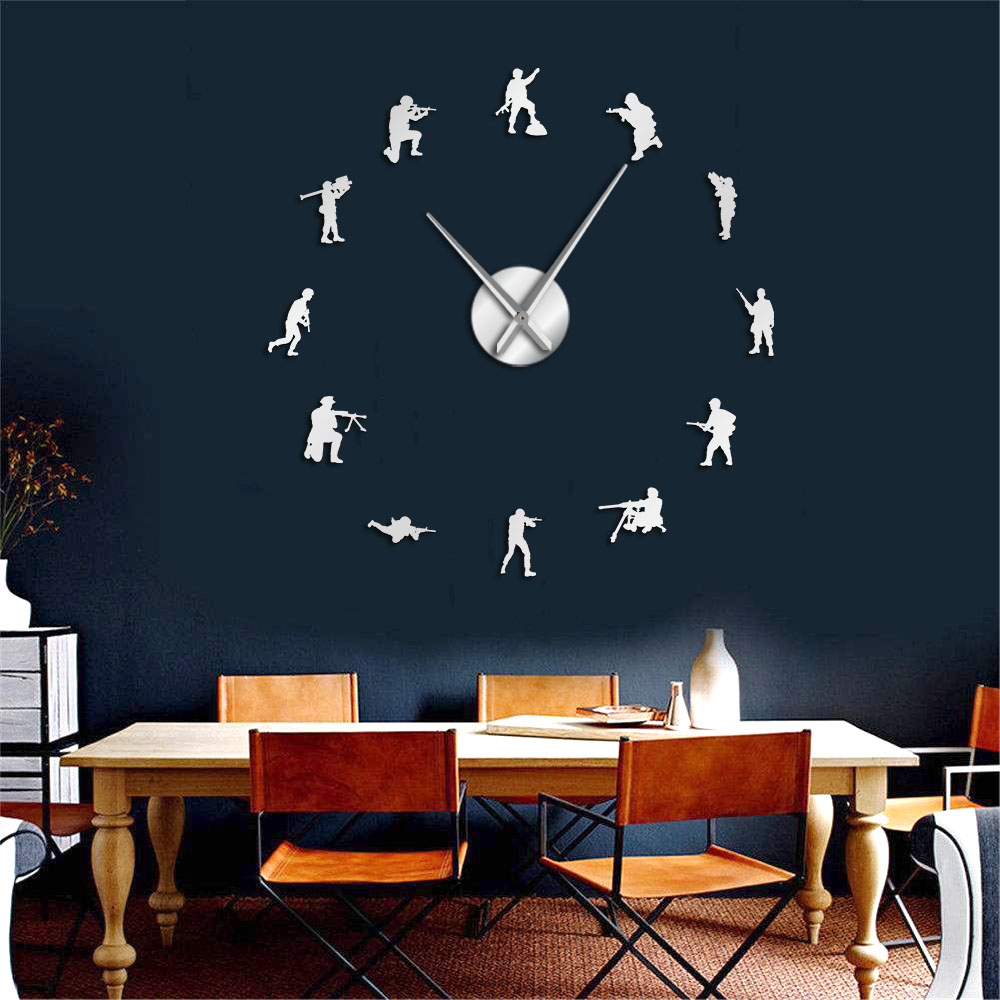 Soldiers Military Wall Art Stickers DIY Large Wall Clock Veteran Army Home Decor Frameless Wall Watch Independence Day Gift