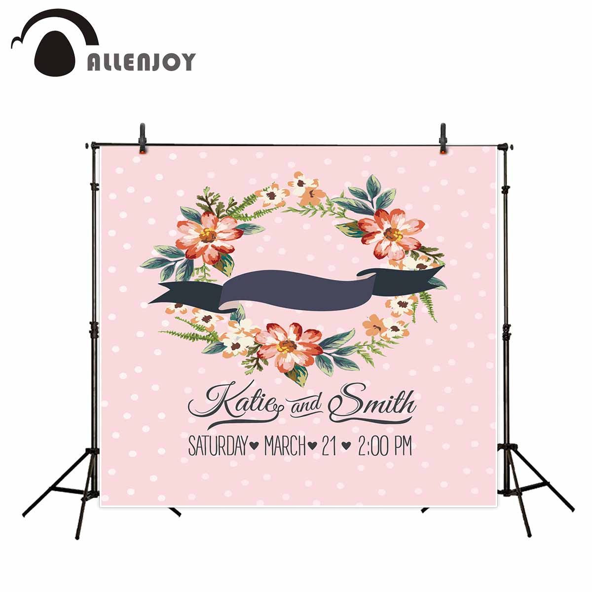 Allenjoy photo background wedding backdrop flowers Pink dots custom background camera fotografica profissional vinyl backdrops allenjoy photographic background rainbow sun lawn cloud newborn lovely princess photocall custom camera fotografica