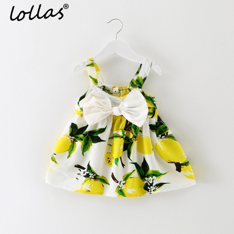 Lollas Girls Clothing Summer Girl Dress Lemon Sleeveless Bow Kids Dresses Girls Cotton Vest Dress Cute Children Clothes