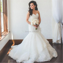 Vintage Applique Mermaid Wedding Dresses Sweetheart Lace Bridal Gowns Off The Shoulder Plus Size Vestido De Noiva 2019(China)
