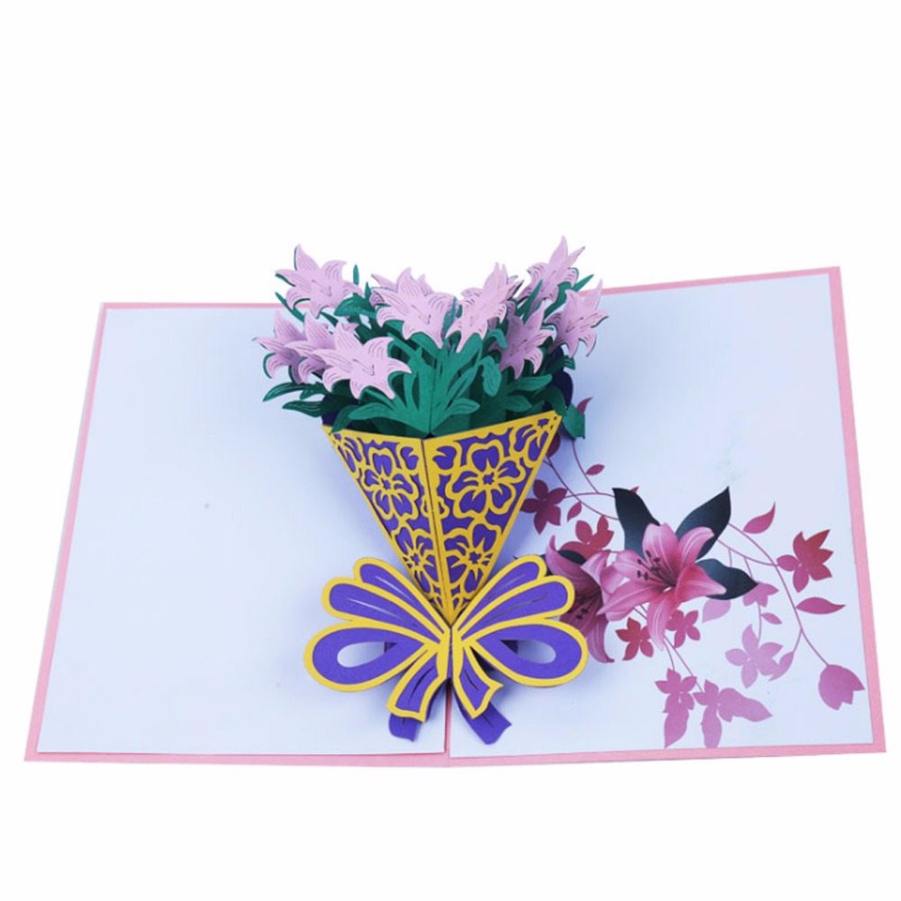 00TDTY Handmade 3D Pop Up Rose Lilies Sunflowers Daffodils Flowers Greeting Card Christmas Birthday New Year Invitation