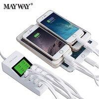 Power Adapter REINO UNIDO DA UE EUA Tomada Rápida de Carregamento 8 USB portas de Exibição AC DC Adaptador de Alimentação Carregador de Tomada de Viagem Para xiaomi iphone