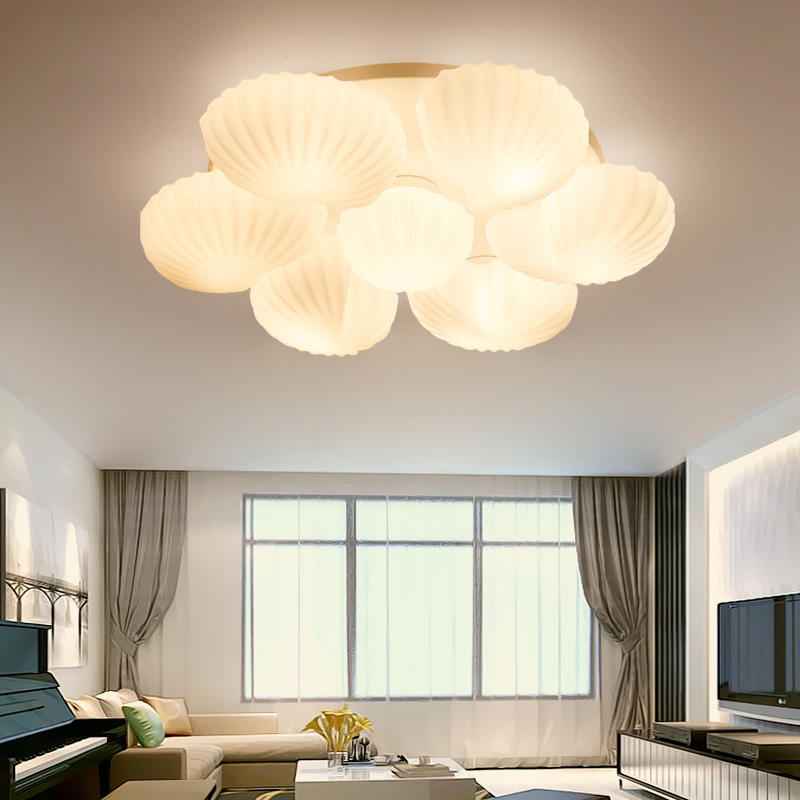 Mediterranean Conch Shell Glass Lampshade Ceiling Lamp for Living Room lamparas de techo abajur led living room ceiling lightMediterranean Conch Shell Glass Lampshade Ceiling Lamp for Living Room lamparas de techo abajur led living room ceiling light