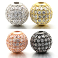 10mm Best Quality Brass Cubic Zirconia Round Spacer Beads for DIY Jewelry Findings, Mixed Color, Hole: 1.8mm, Model: VZ6