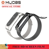 MIJOBS Magnet Attraction Wristband For Xiaomi Miband 2 Metal Watchcase Stainless Steel Watch Strap Replacement Strap