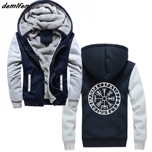 Image 1 - Viking Compass Vegvisir Futhark Runes Navigator Hoodies Unisex Casual Apparel Tops Jacket Fashion Zipper Hipster Sweatshirt Men