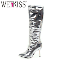 420adc98333 WETKISS 2018 Fashion Women Shoes Patent High Heels Knee Boots Sexy Stiletto  Pointed toe Female Boot