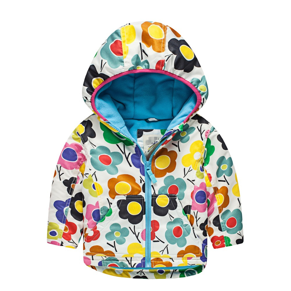 Winter Girls Hooded Coats Color Printed Waterproof Wind Thicker Coat Kids Zipper Padded Jacket Casual Children Outerwear 3-7 yrs