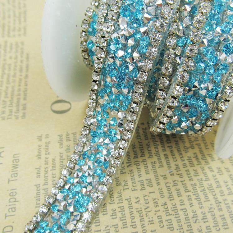Light Blue Rhinestone Garment Trim2 Yardslotfancy Bridal Dress
