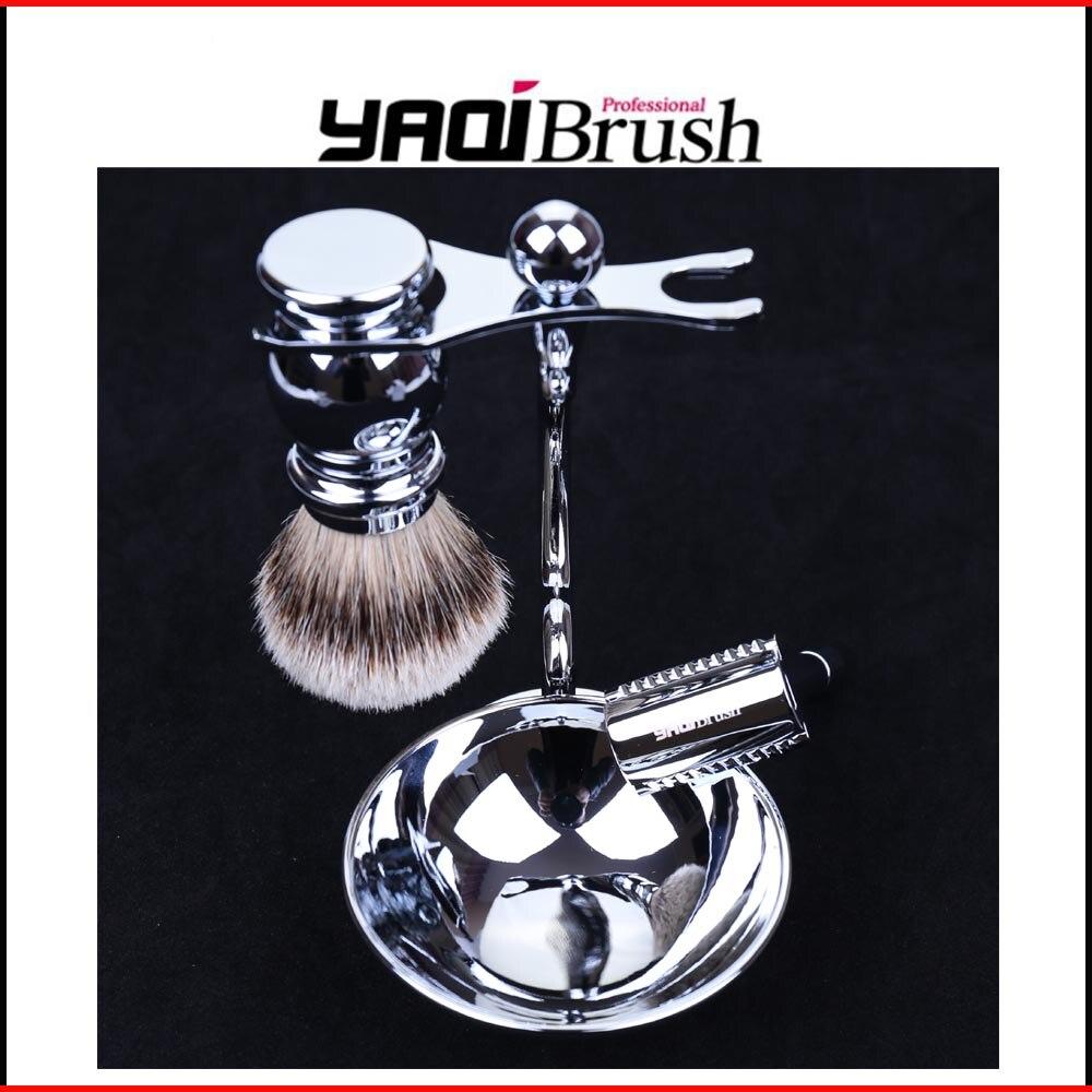 Silvertip Badger Hair Tellurion Shaving Brush Razor Stand and Bowl Set mens badger shaving brush stand razor holder and double head safety straight razor
