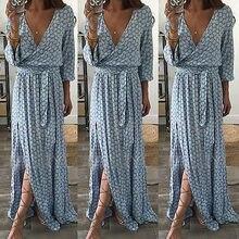 Women Ladies Clothing Floral Print Long Sleeve Boho Dress Lady Summer Deep V Neck Party Long Maxi Dress Women