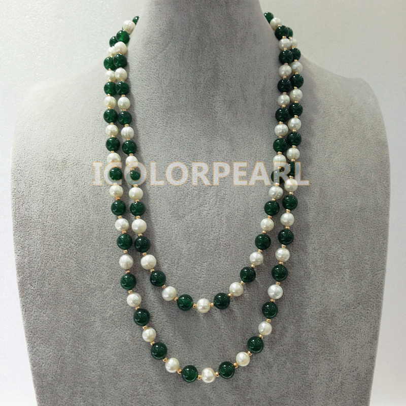 125-130cmLong 9-10mm Dark Green Bead And Nearround White Real Freshwater Pearl Sweater Jewelry Sweater Necklace. aqua profix dark green 100m 0 10mm 6 50kg