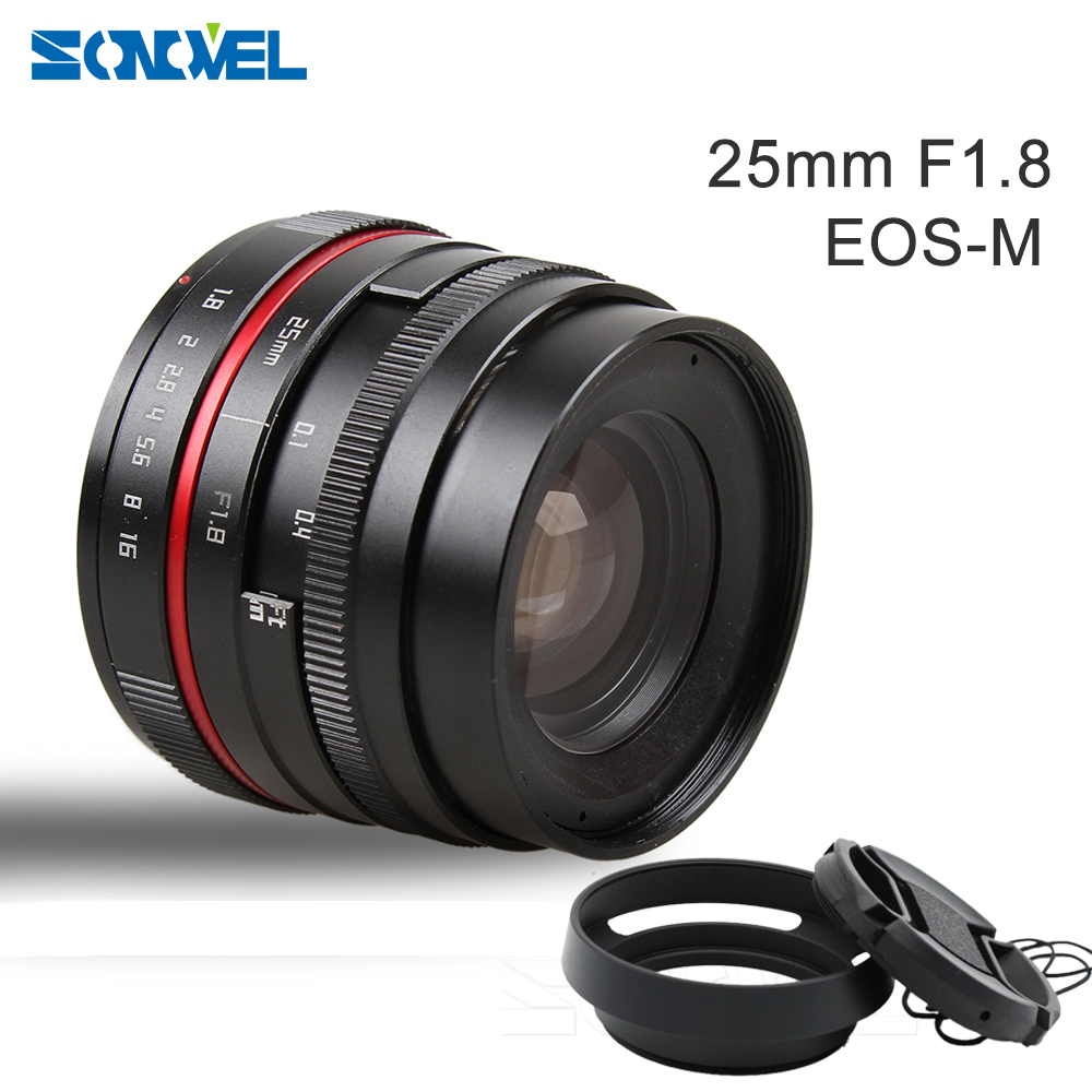 25mm <font><b>25</b></font> <font><b>F1.8</b></font> Manual Wide Angle Lens+49mm metal tilted vented Lens Hood for Canon EOS M M2 M3 M5 M6 M10 M100 Mirrorless Camera image