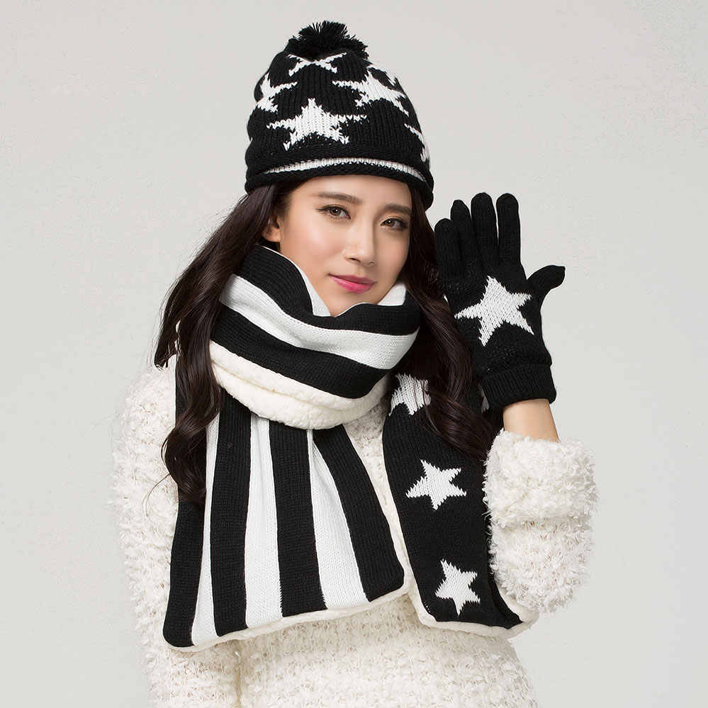 CIVICHIC модная зимняя женская обувь вязаная шапка шарф перчатки 3 предмета; комплект из утепленного американского звездно-полосатый флаг помпоном шапочки Теплый костюм SH123