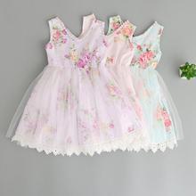 Новые милые летние платья из хлопка с бисером для маленьких девочек; принцесса дети милые одежда с принтом; 5 шт./партия;