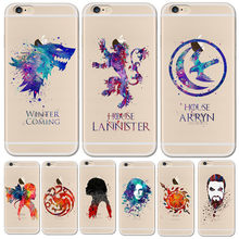 Acquerello arte Game Of Thrones Cassa Del Telefono Per il iphone 6 6 S 6 Più 5 5 s SE 7 7 S 7 Più 8 Trasparente Tpu Per Funda iPhone 7 7 S Casi(China)