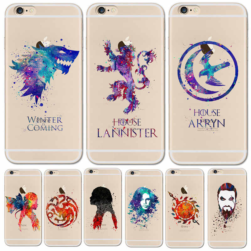 Watercolor art Game Of Thrones Phone Case For iPhone 6 6S 6Plus 5 5s SE 7 7S 7Plus 8 Clear TPU Cover For Funda iPhone 7 7S Cases
