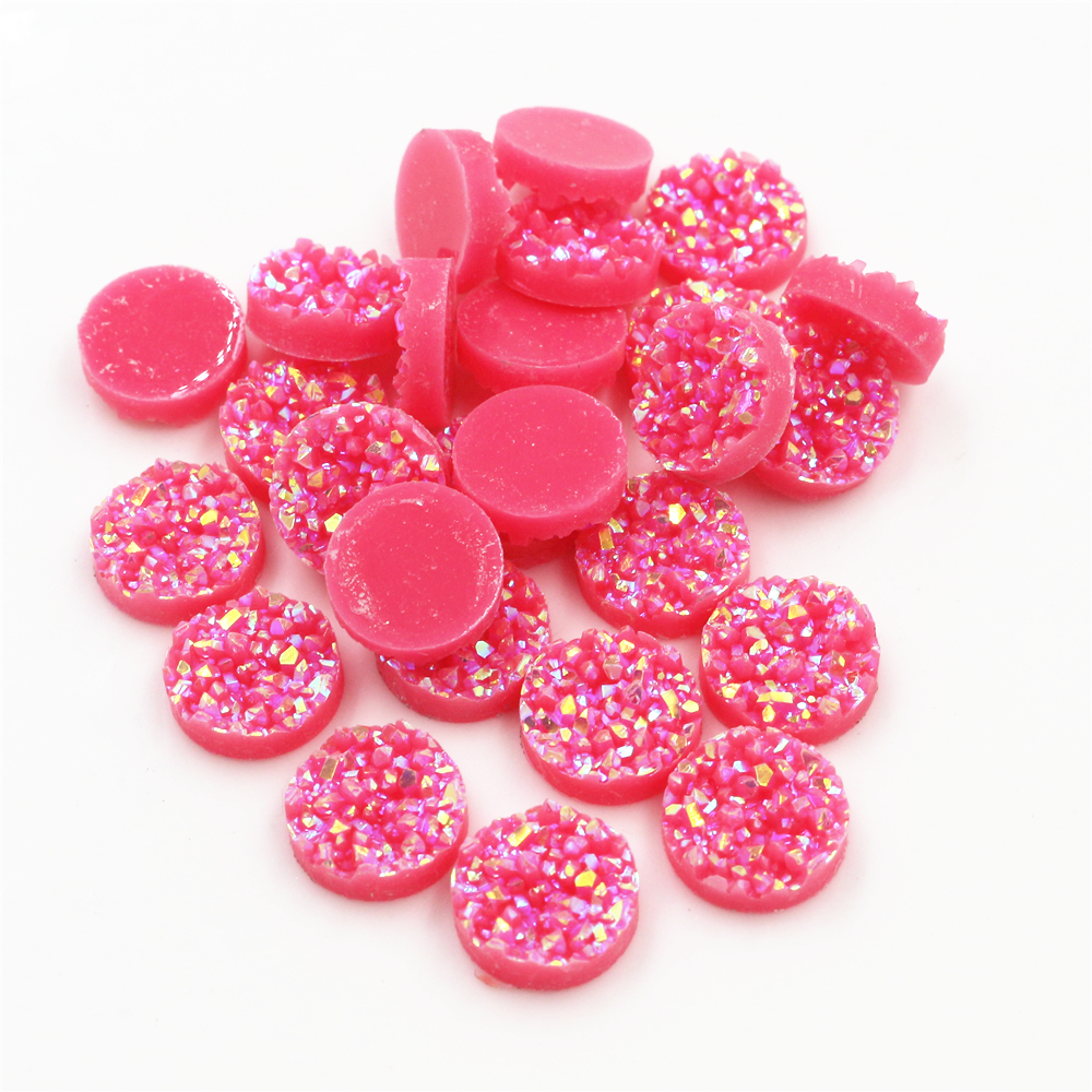 New Fashion 40pcs 12mm Watermelon Red AB Colors Natural Ore Flat Back Resin Cabochons For Bracelet Earrings Accessories-V4-17