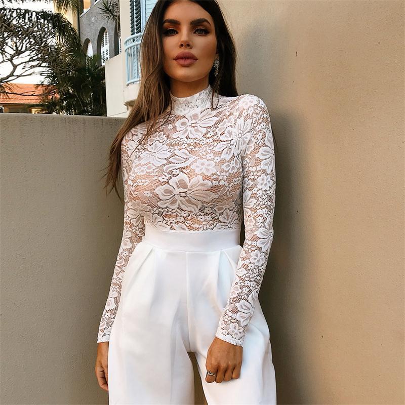 Sexy Long Sleeve White Lace Women Bodysuit 2019 Jumpsuit Elegant Romper Transparent Bodysuits Women Nightclub Body Suit