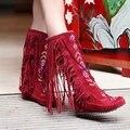 Новый 2015 Женская Мода Стая Кисточкой колено сапоги дамская причинные Сексуальные Длинные Сапоги на высоком каблуке Высокого качества Красный Черный Коричневый AA253