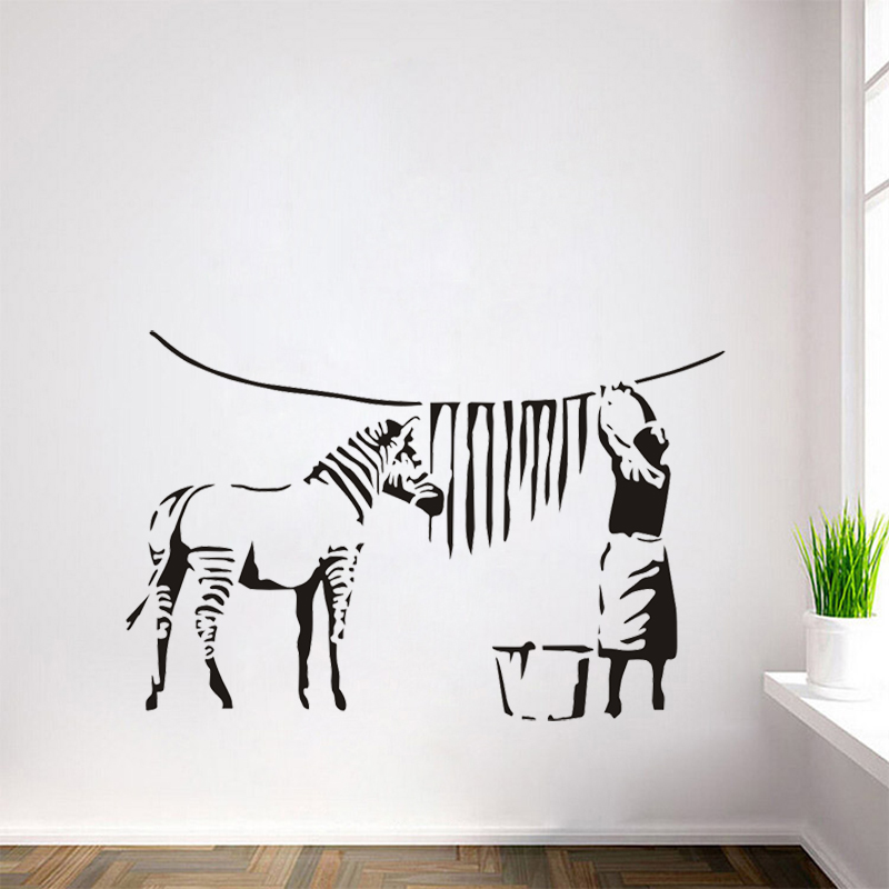 Banksy Graffiti Washed Zebra Stripes Large Vinyl Wall Stickers - Zebra stripe wall decals