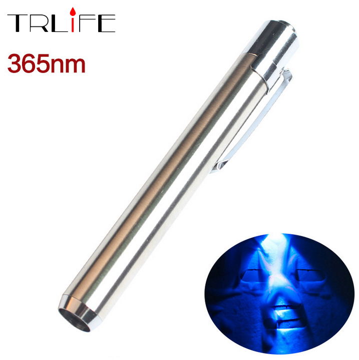 Stainless Steel 365nm UV Waterproof Led Flashlight Torch Ultraviolet Light to Detectorlamp for AAA Battery new tank007 uv02 1w 365nm chip uv led torchlight ultraviolet flashlight for anti fake 2 aaa